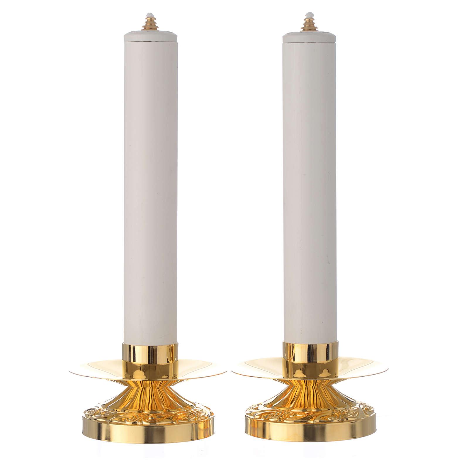 Coppia di candelieri ottone candela pvc e cartuccia 4