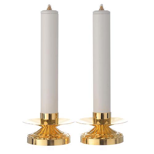 Coppia di candelieri ottone candela pvc e cartuccia 1