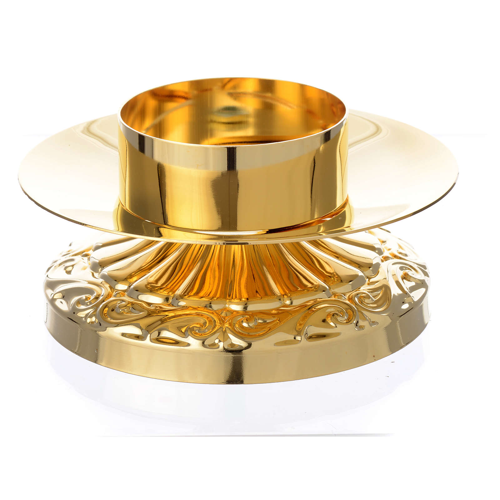 Empire style candle holder in golden brass 4
