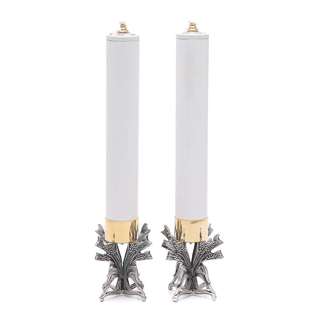 Pareja candeleros peltre plateado con vela 4