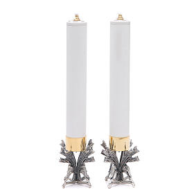 Pareja candeleros peltre plateado con vela s5