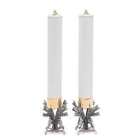 Pareja candeleros peltre plateado con vela s2