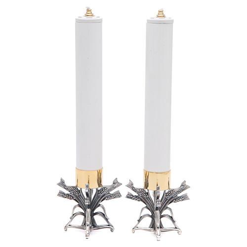 Pareja candeleros peltre plateado con vela 6