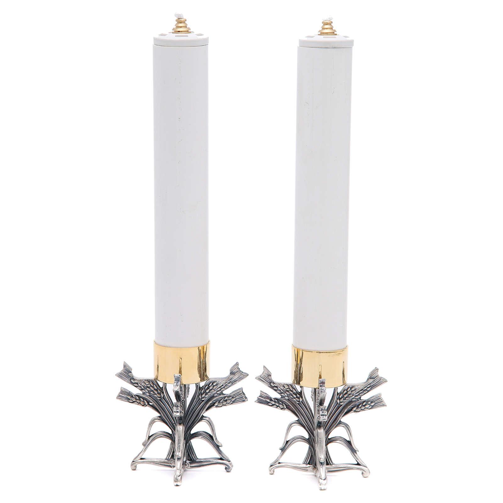 Coppia candelieri peltro argentato con candela 4