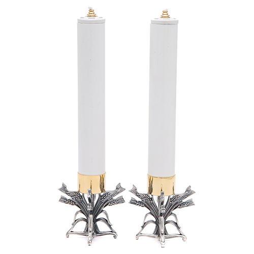 Coppia candelieri peltro argentato con candela 1