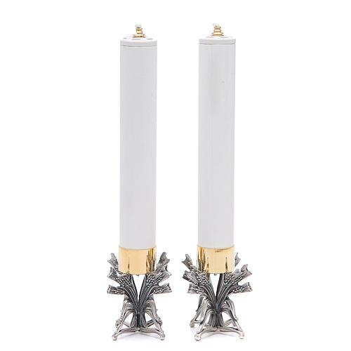 Coppia candelieri peltro argentato con candela 2