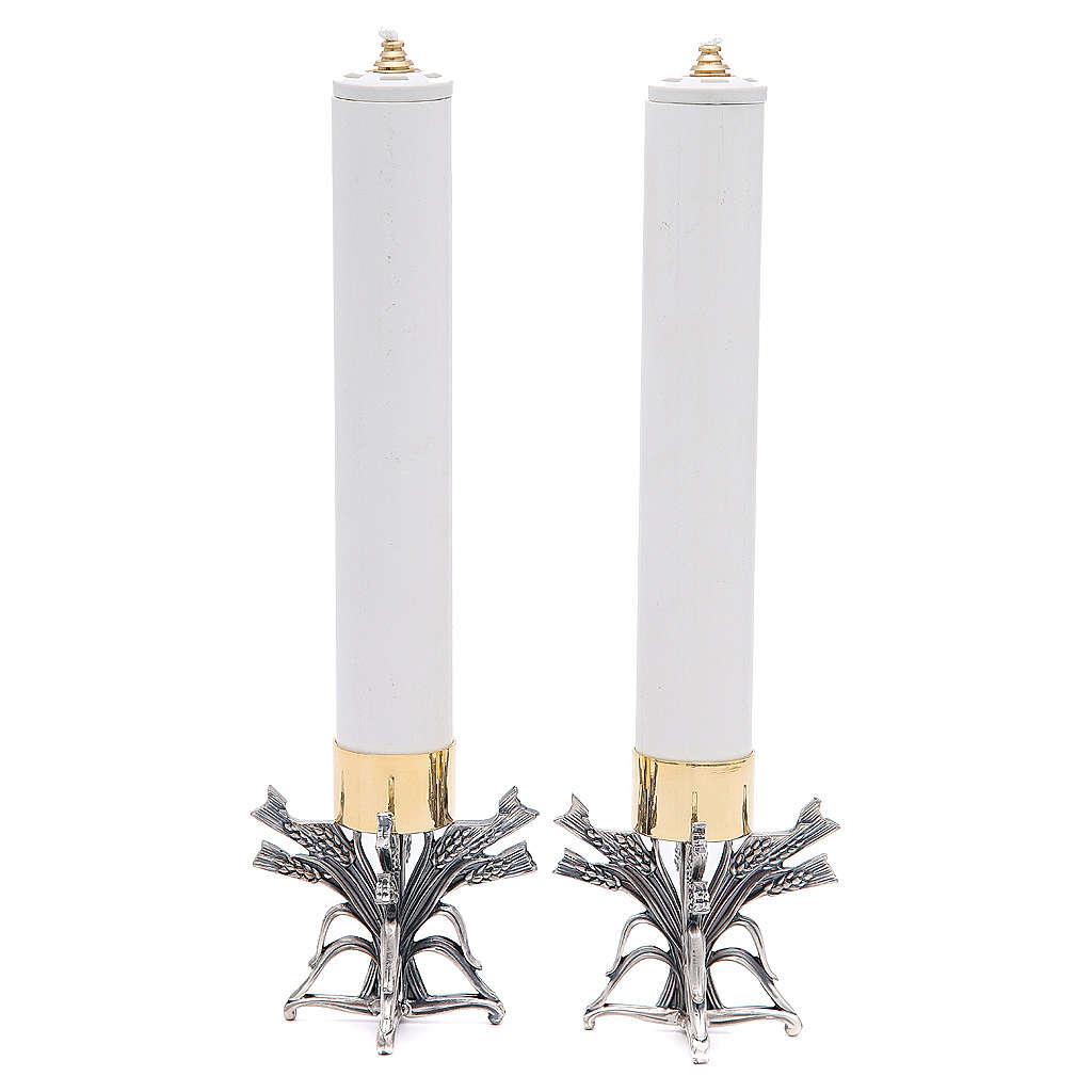 Para świeczników posrebrzany stop cyny z ołowiem ze świecą 4