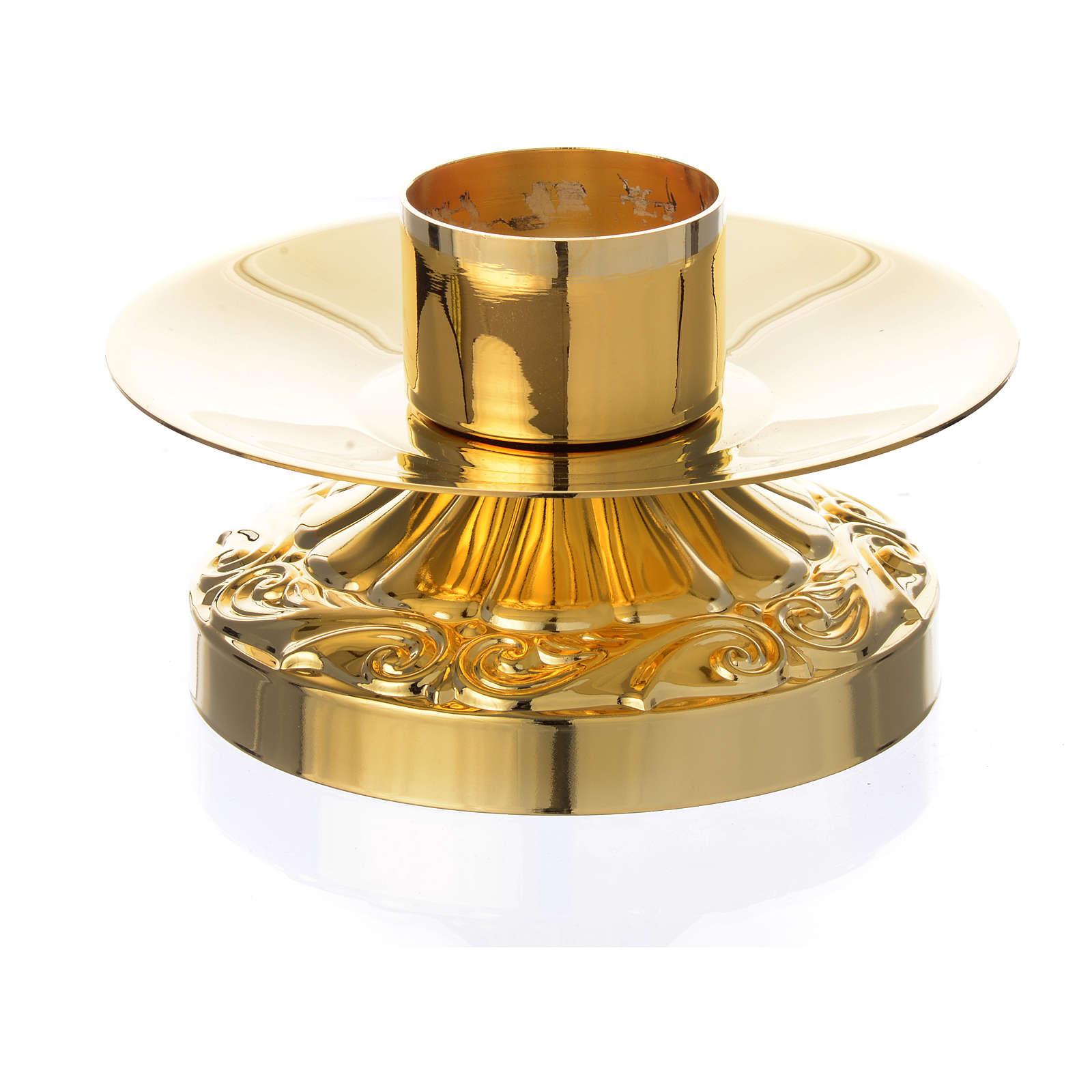 Candeliere impero ottone dorato per candele diam 4 cm 4