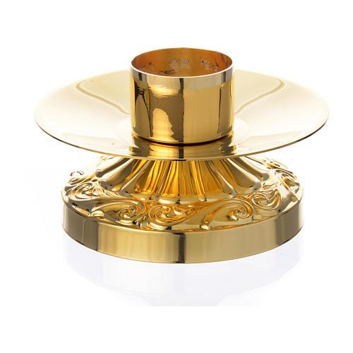 Candeliere impero ottone dorato per candele diam 4 cm 1