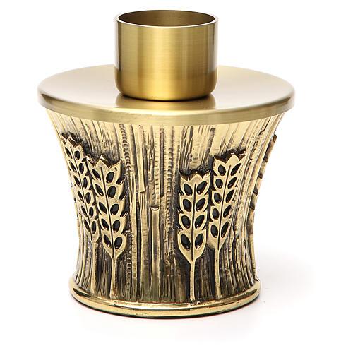 Candeliere Molina ottone dorato spighe 3