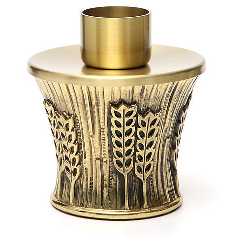 Candeliere Molina ottone dorato spighe 23