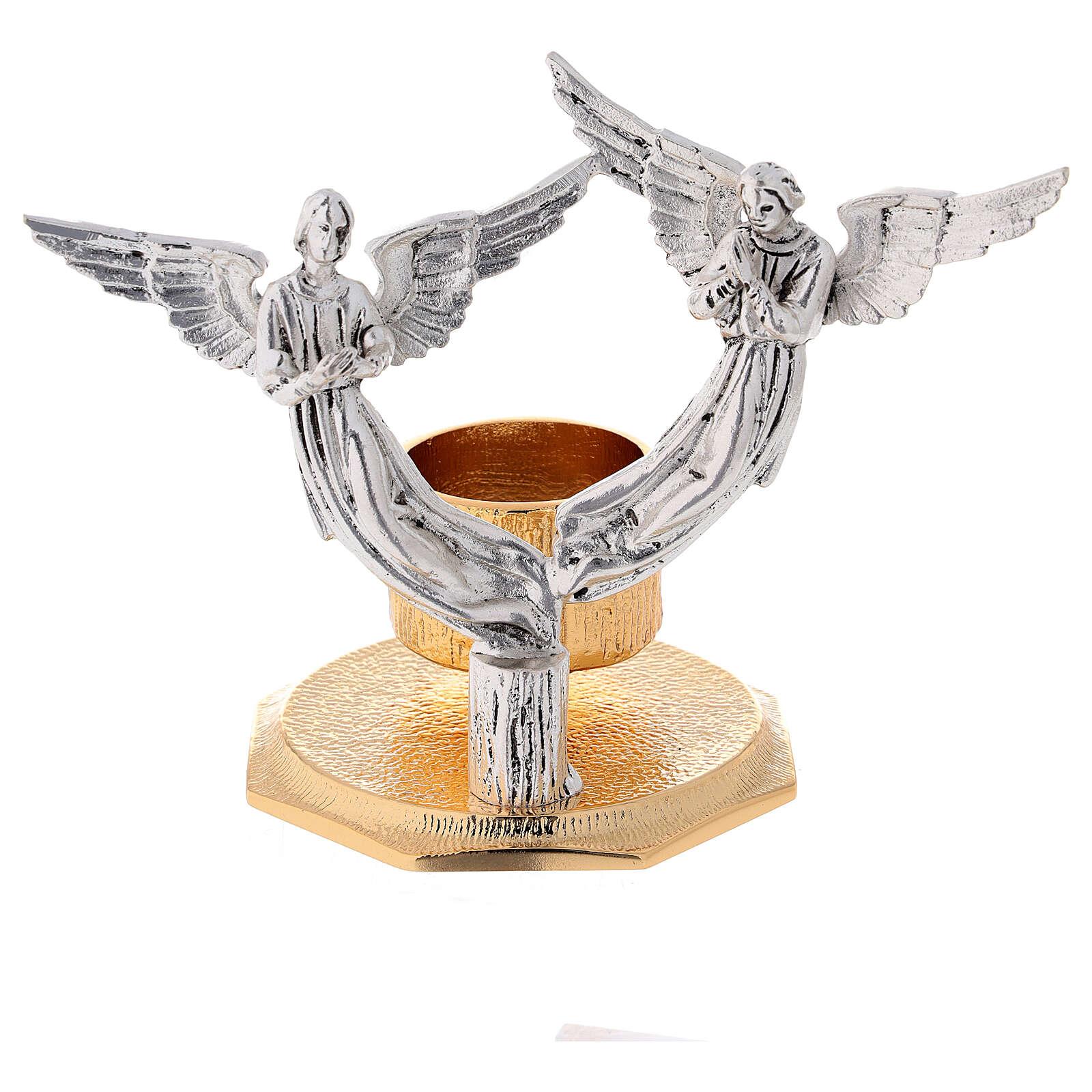 Lichtarz anioły odlew mosiądzu 1 miseczka h 13 cm 4