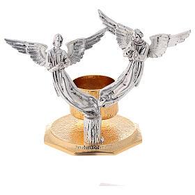 Lichtarz anioły odlew mosiądzu 1 miseczka h 13 cm s1