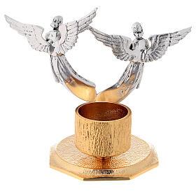 Lichtarz anioły odlew mosiądzu 1 miseczka h 13 cm s4