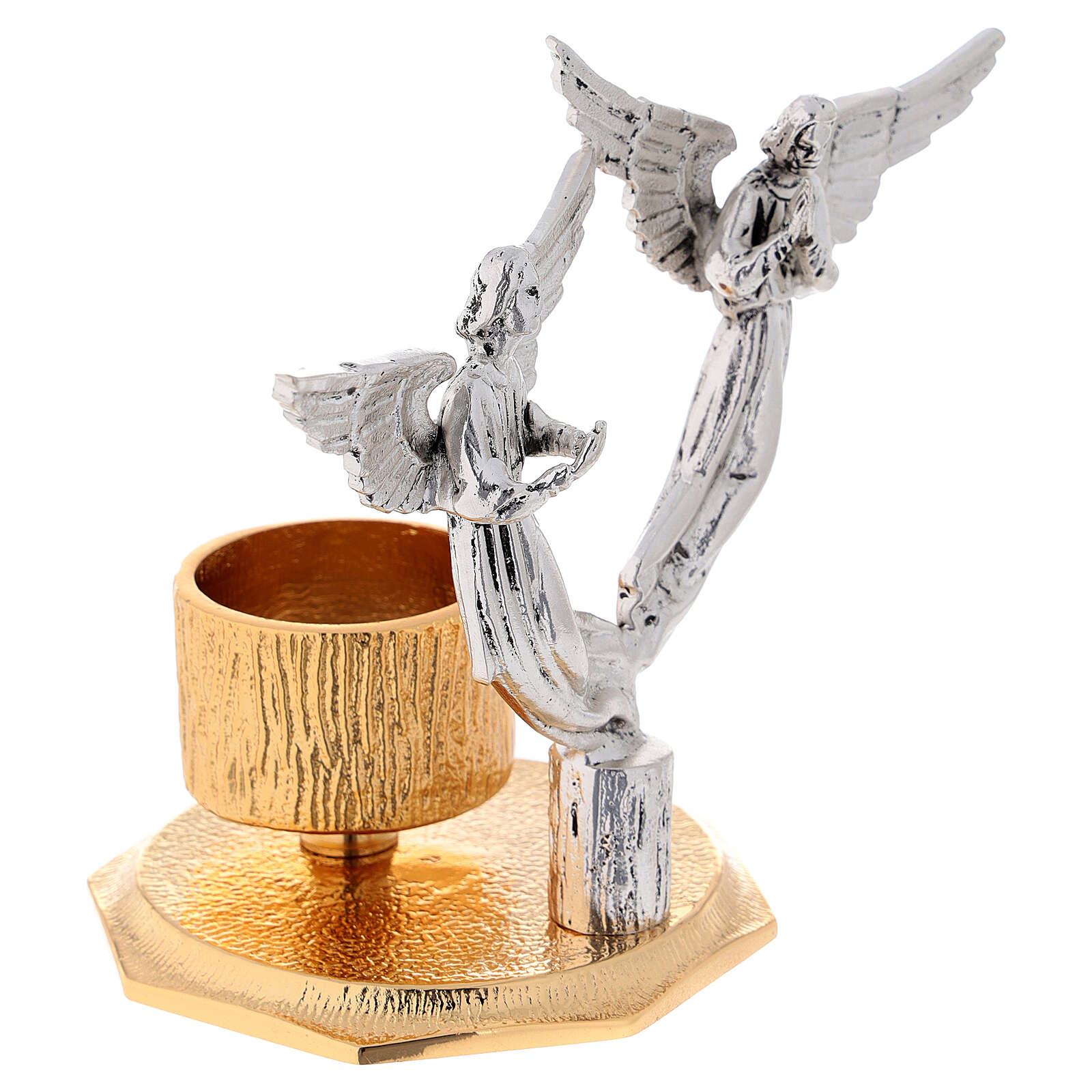 Castiçal anjos latão moldado 1 bocal h 13 cm 4