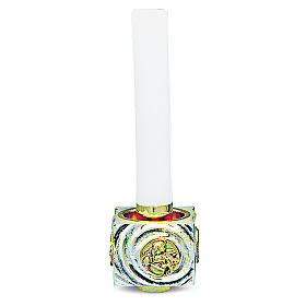 Candeliere di ottone fuso bicolore 9x9x9 cm s1
