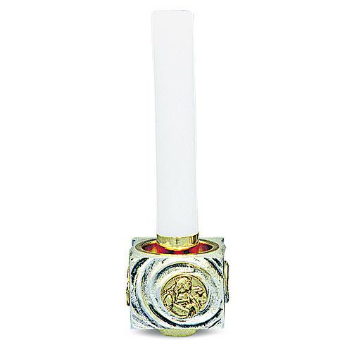 Candeliere di ottone fuso bicolore 9x9x9 cm 1