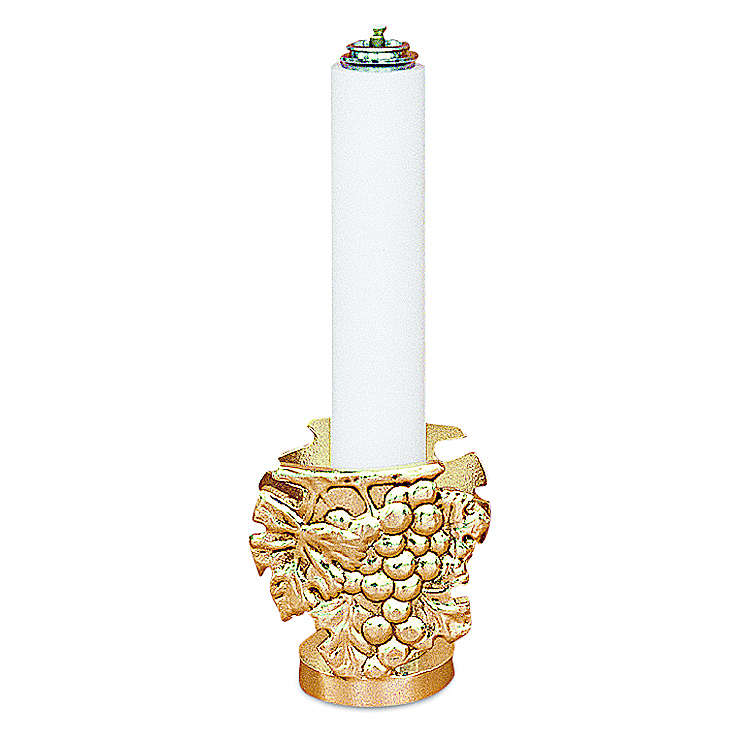Lichtarz odlew mosiądzu h 9 cm świeczka 32 mm 4
