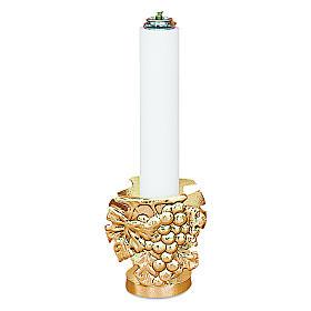 Lichtarz odlew mosiądzu h 9 cm świeczka 32 mm s1
