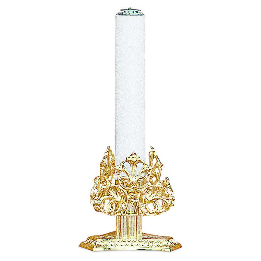 Candeliere decori ottone dorato fuso h 13 cm 4