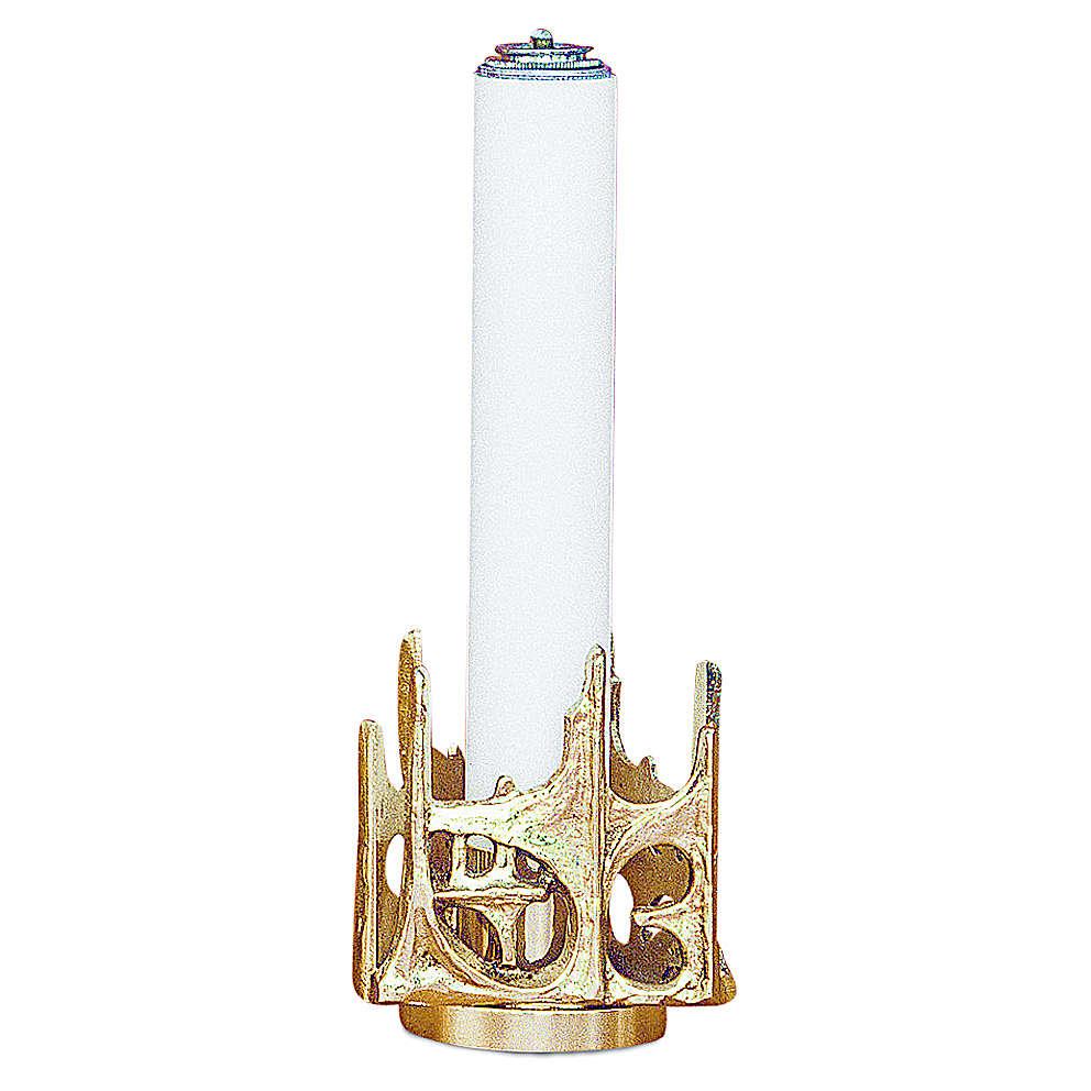 Candeliere stilizzato ottone dorato fuso h 11 cm 4