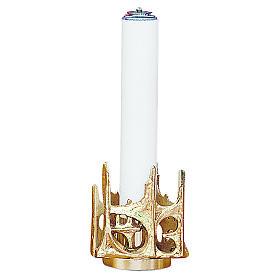 Candeliere stilizzato ottone dorato fuso h 11 cm s1