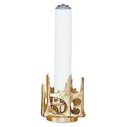 Candeliere stilizzato ottone dorato fuso h 11 cm 1