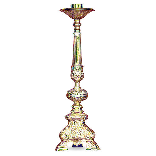 Baroque candelabra in gold cast brass 50cm 1