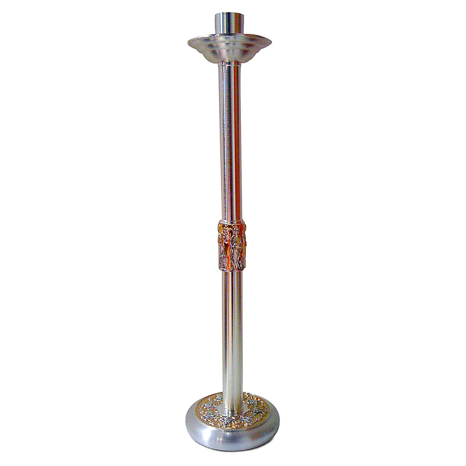 Świecznik na procesję 4 Ewangelistów dwukolorowy mosiądz h 60 cm 4