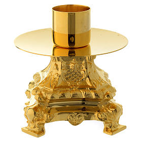 Candle holder 13 cm in gold brass s2
