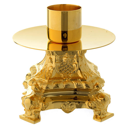 Candle holder 13 cm in gold brass 2