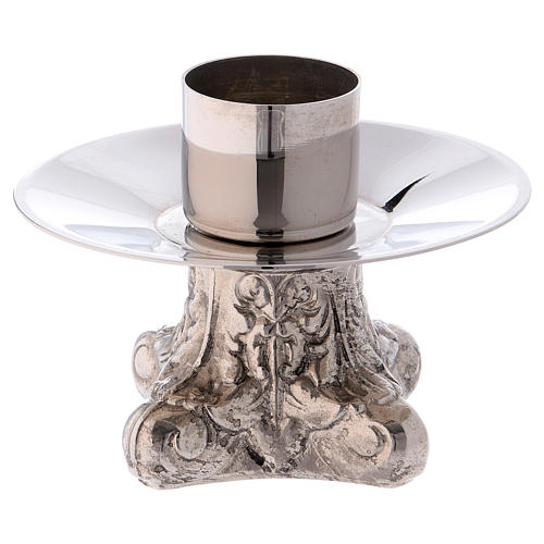 Candle holder in silver-plated brass with four legs 1