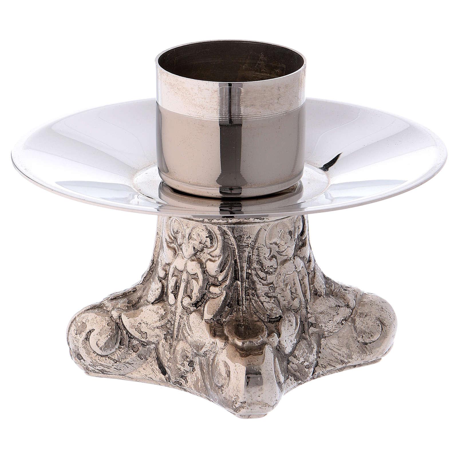 Candeliere in ottone argentato base quattro piedi 4