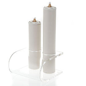 Candle holder in plexiglas with 2 candles s1