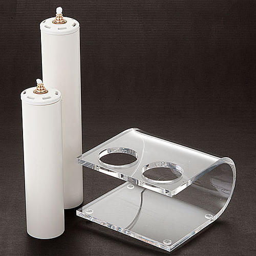 Candle holder in plexiglas with 2 candles 2