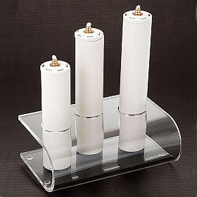 Candle holder in plexiglass with 3 candles s4