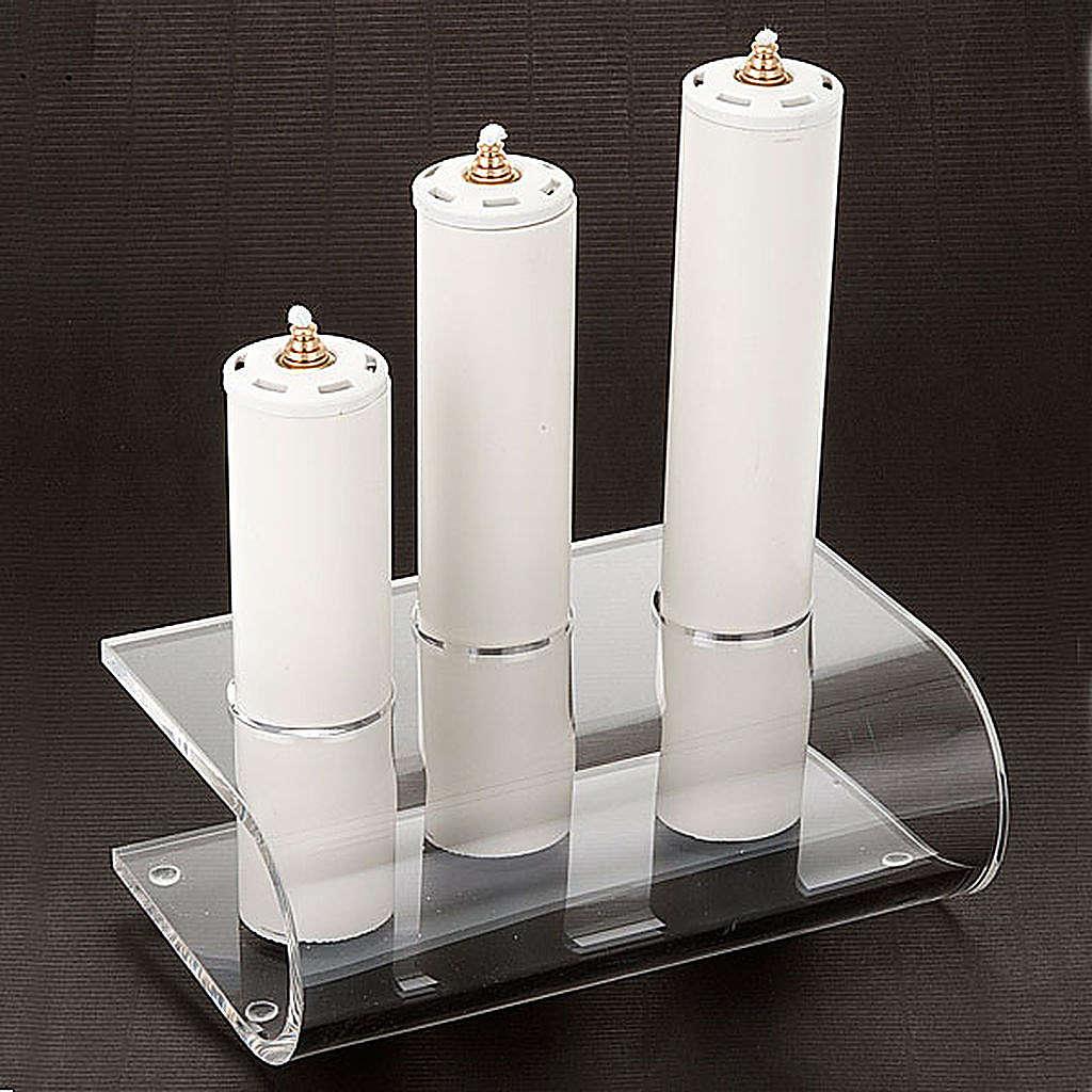 Candeliere plexiglass trasparente tre posti 4