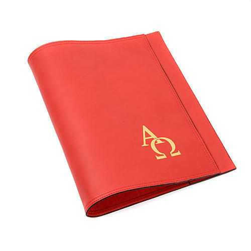 Leather Lectionary slipcase with alpha and omega 1