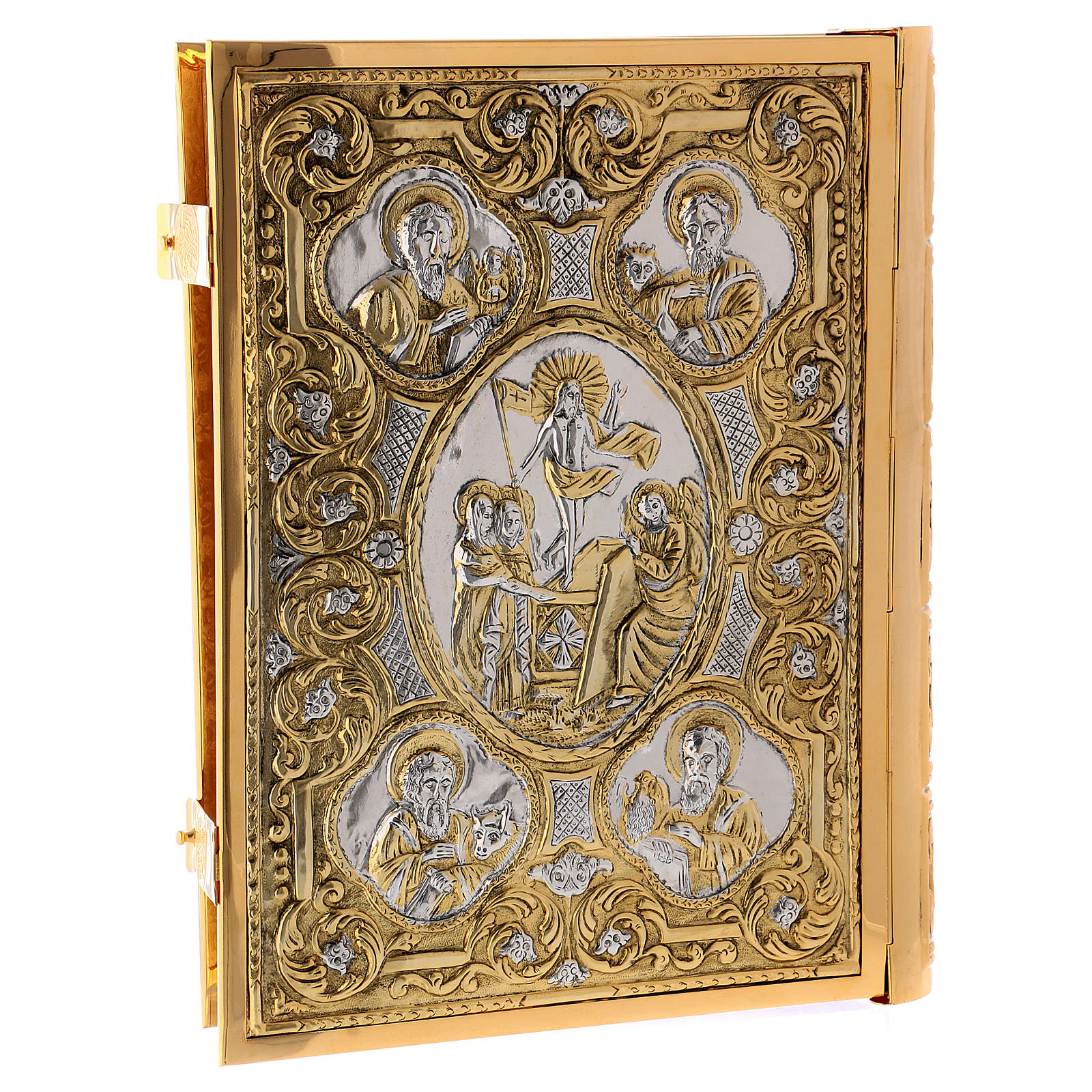 Golden brass Lectionary/Evangeliary Cover with Crucifixion of Jesus 4