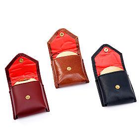 Relicarios eucarísticos: Portaviatico de piel bordeaux con cajas de formas