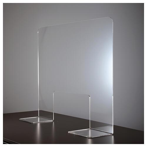 Plexiglas-Schutzwand 80x100 cm mit Serviceöffnung 30x50 cm 3
