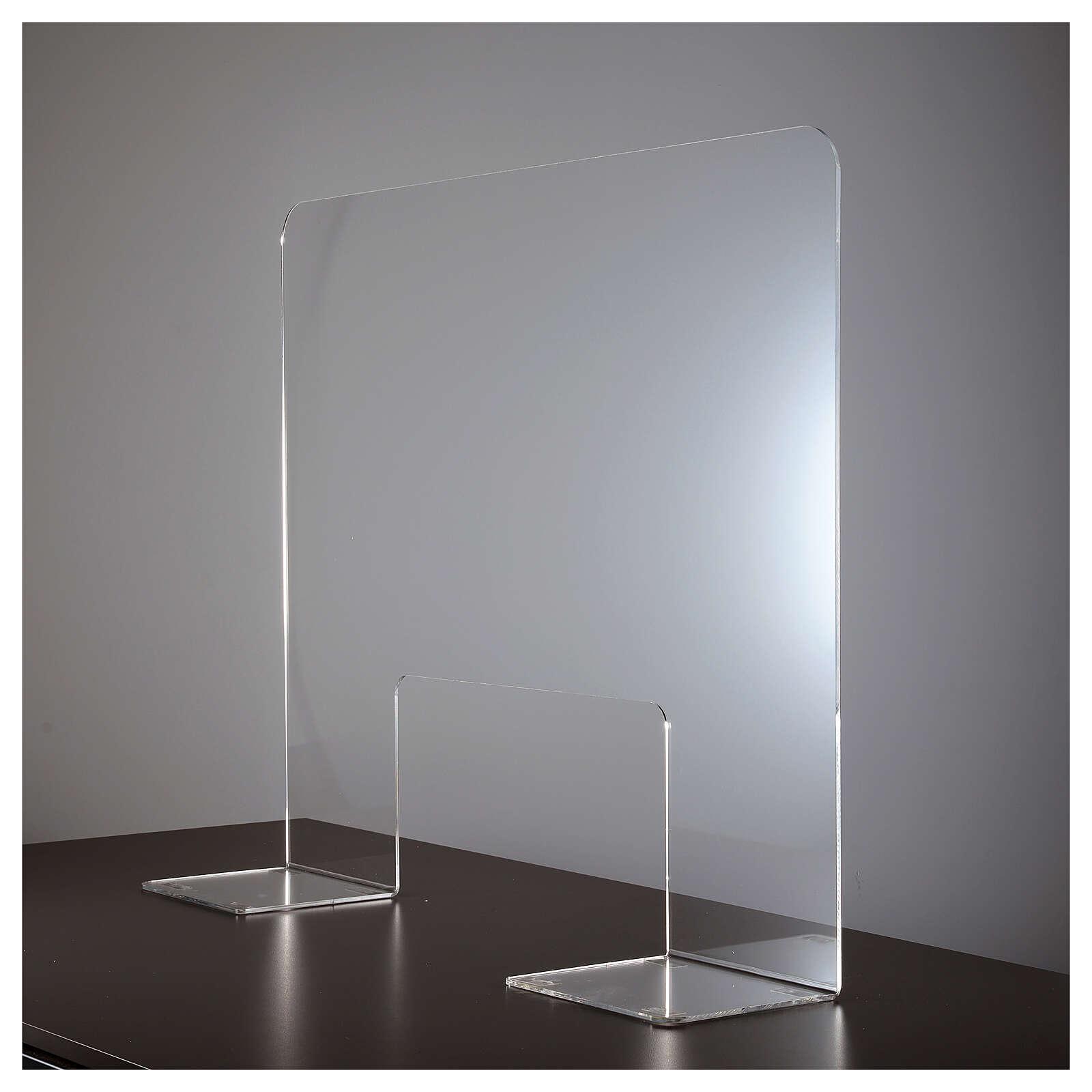 Panel divisorio protector plexiglás 80x100 cm ventana 30x50 cm 3