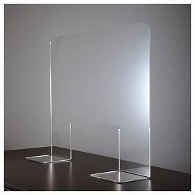 Panel divisorio protector plexiglás 80x100 cm ventana 30x50 cm s3