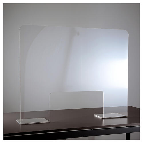 Panel divisorio protector plexiglás 80x100 cm ventana 30x50 cm 1