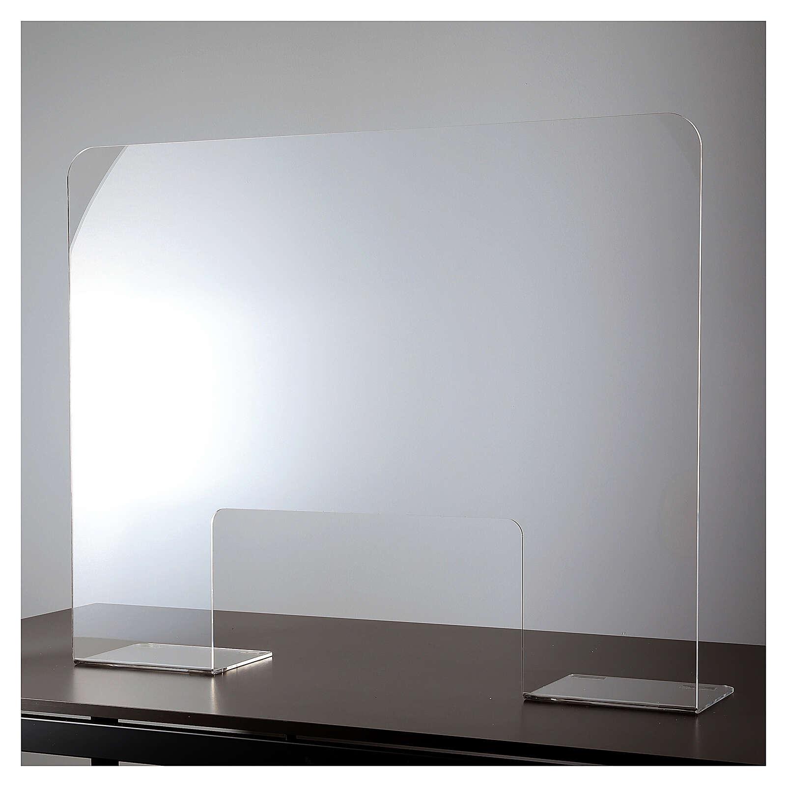 Barreira de proteção acrílico 80x100  cm com abertura 30x50 cm 3
