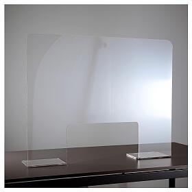 Barreira de proteção acrílico 80x100  cm com abertura 30x50 cm s1