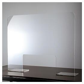 Barreira de proteção acrílico 80x100  cm com abertura 30x50 cm s2