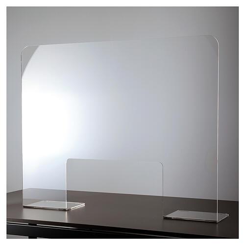 Barreira de proteção acrílico 80x100  cm com abertura 30x50 cm 2