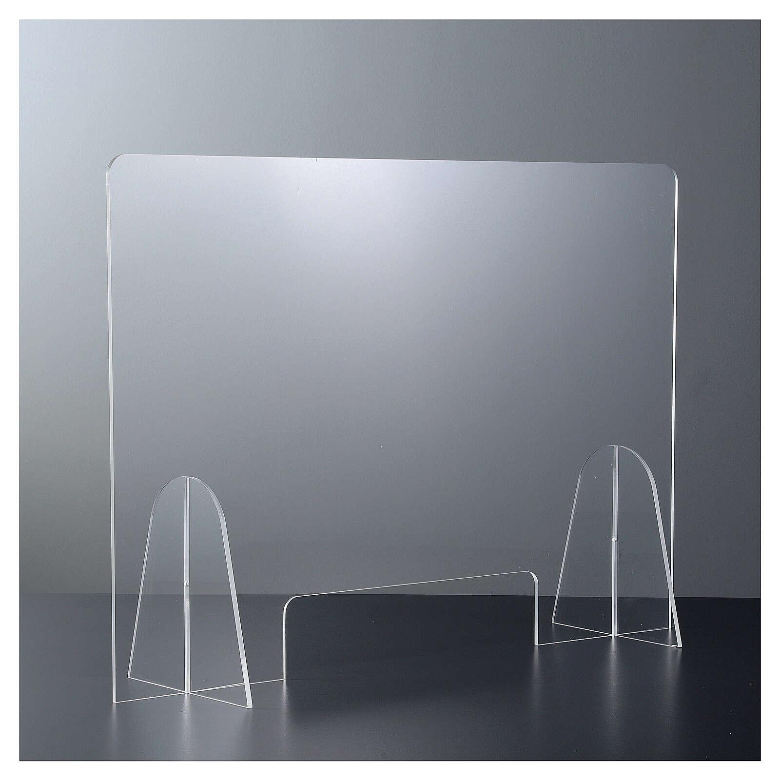 Plexiglas-Schutzwand 90x150 cm mit Serviceöffnung 20x40 cm 3