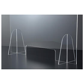 Plexiglas-Schutzwand 90x150 cm mit Serviceöffnung 20x40 cm s4